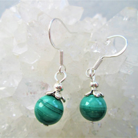 Green malachite minimalist dangle earrings