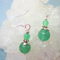 Green aventurine minimalist small dangle earrings