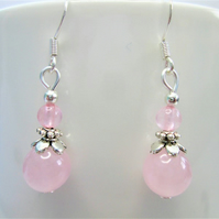 Pink rose quartz minimalist small dangle earrings