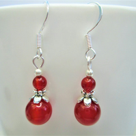 Carnelian minimalist small dangle earrings