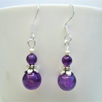 Amethyst small minimalist dangle earrings