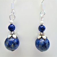 Lapis lazuli small minimalist dangle earrings