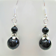 Black tourmaline minimalist small dangle earrings