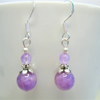 Lavender jade small minimalist dangle earrings