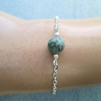 Bloodstone beaded gemstone minimalist chain bracelet