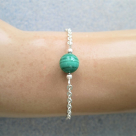 Malachite beaded gemstone minimalist chain bracelet