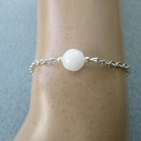 Natural selenite beaded gemstone minimalist chain bracelet