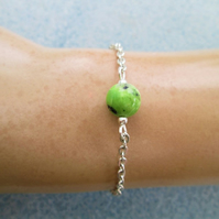 Chrysoprase beaded gemstone minimalist chain bracelet