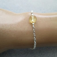 Natural citrine beaded gemstone minimalist chain bracelet