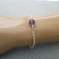 Purple amethyst beaded gemstone minimalist chain bracelet