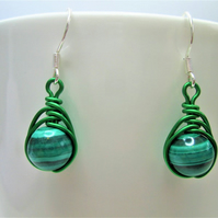 Green malachite gemstone wire wrapped bead earrings