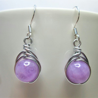 Lavender jade gemstone wire wrapped bead earrings