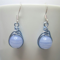 Blue lace agate gemstone wire wrapped bead earrings