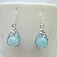 Natural aquamarine gemstone wire wrapped bead earrings