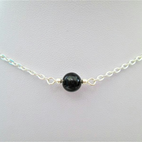 Black obsidian gemstone crystal necklace
