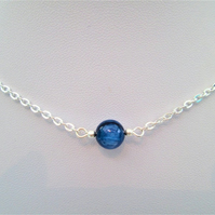 Blue kyanite gemstone crystal necklace