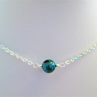 Chrysocolla gemstone crystal necklace