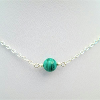 Green malachite gemstone crystal necklace
