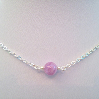 Lavender jade gemstone crystal necklace