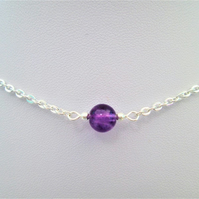Purple amethyst gemstone crystal necklace