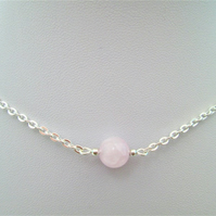 Pale pink kunzite gemstone crystal necklace