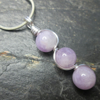 Lavender jade wire wrapped gemstone crystal necklace