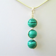 Green malachite wire wrapped gemstone crystal necklace