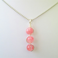 Strawberry quartz wire wrapped gemstone crystal necklace