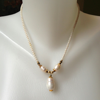 Pearl Pendant Necklace   White coral with pearl necklace