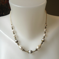 Pearl brass necklace  White coral beads necklace