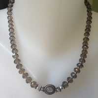 Sterling silver with faceted crystal necklace