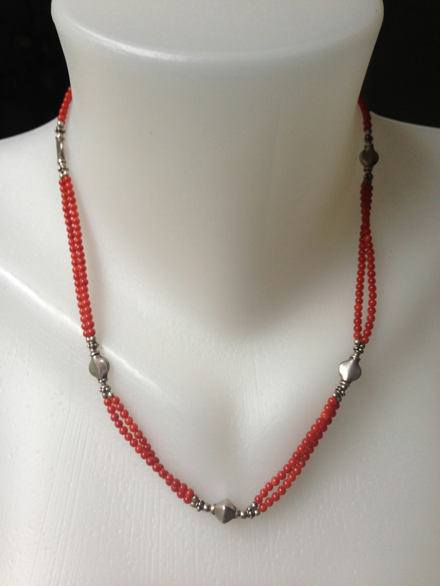 2 strand vintage coral necklace