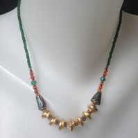 Red gold green necklace