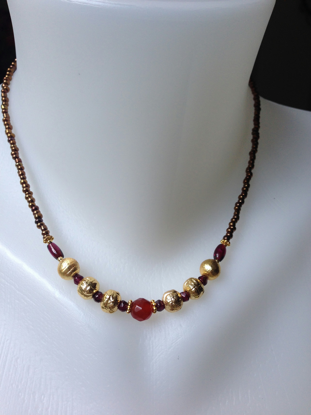 Carnelian, garnet with gold plated necklace