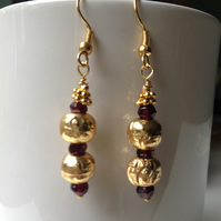 Gold filled earrings, Garnet Earrings, Dangle earrings, Gift for mum