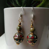 Brass jasper earring, Tibetan earrings, Dangle earrings, Gift for her