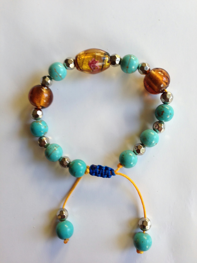 Turquoise foil glass draw string bracelet