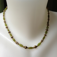 Jade brass necklace
