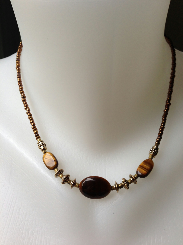 Tiger's eye brass necklace