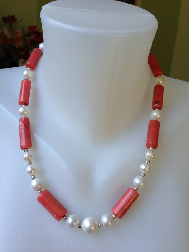 Shell pearl coral necklace Statement necklace Tibetan necklace