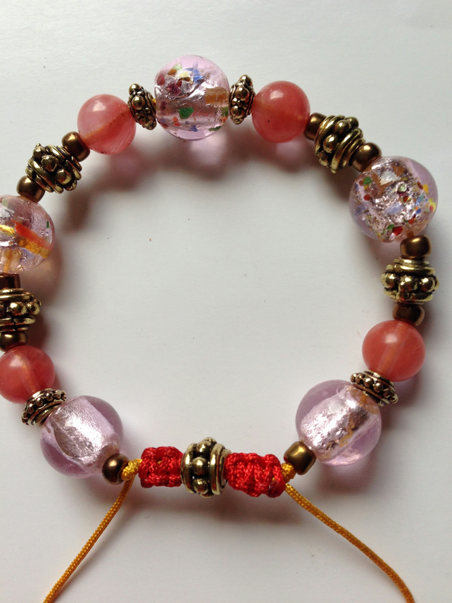 Foil glass necklace  Pink brass bracelet  Brass beads bracelet
