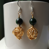 Gold filled earring, dangle earring, Dark green gemstone earring