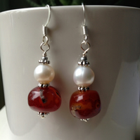 Pearl earrings, Carnelian earrings, Dangle earring, Carnelian nugget beads