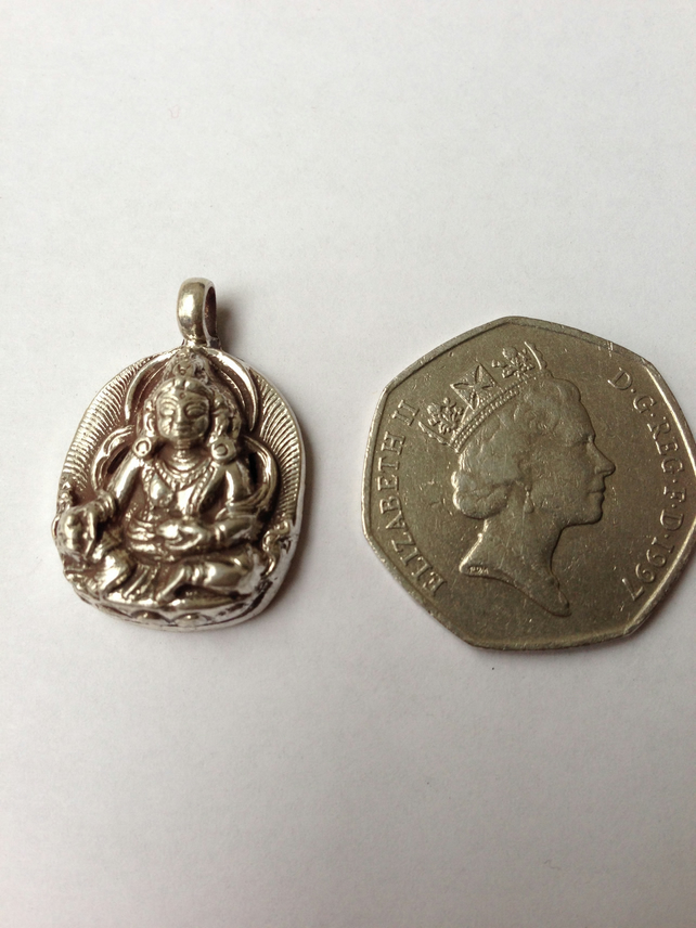 Kubera sterling silver pendant  God of wealth pendant