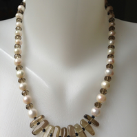 Smoky quartz pearl necklace