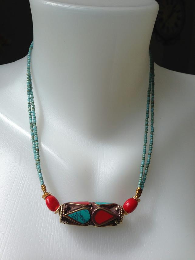 Brass mix beads Neckless