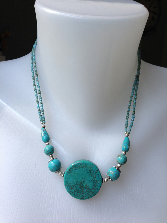 Coin turquoise necklace, Turquoise Necklace