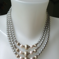 Statement pearl necklace   Shell pearl necklace   Grey pearl necklace
