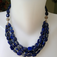 Lapis Lazuli Necklace  Layered lapis necklace  Statement necklace Lapis
