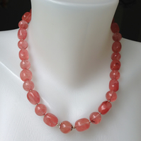 Chunky pink tourmaline necklace